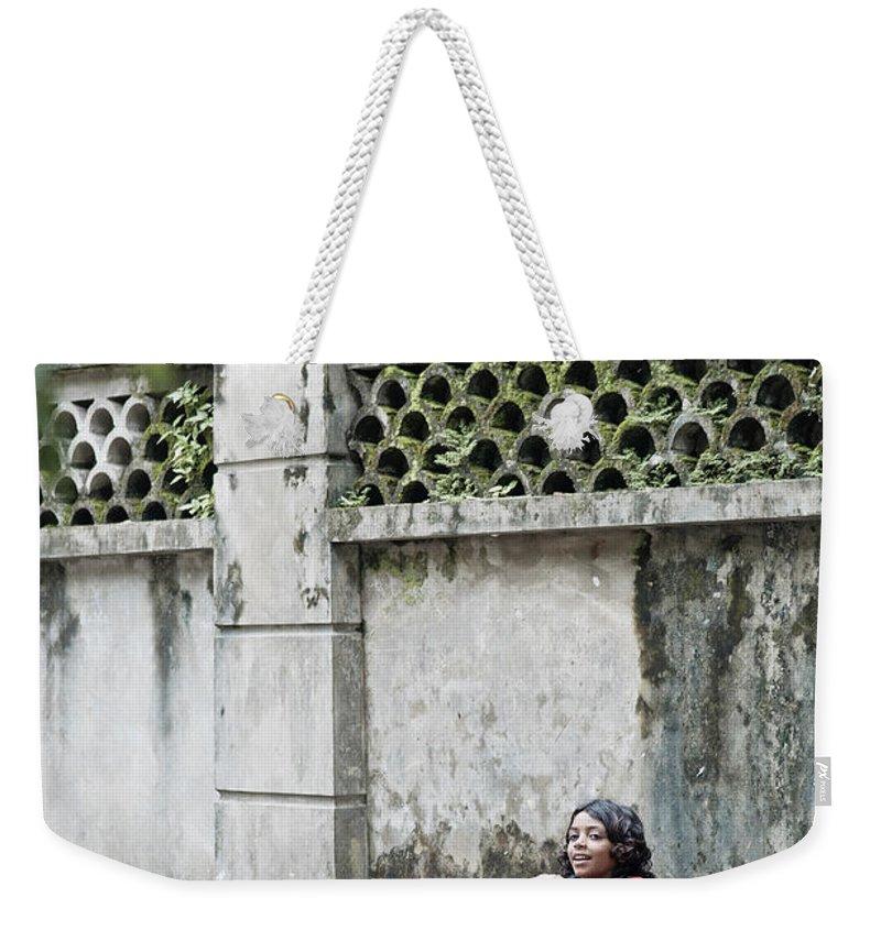 Children Weekender Tote Bag featuring the photograph Children On Street Of Yangon Myanmar by Jacek Malipan