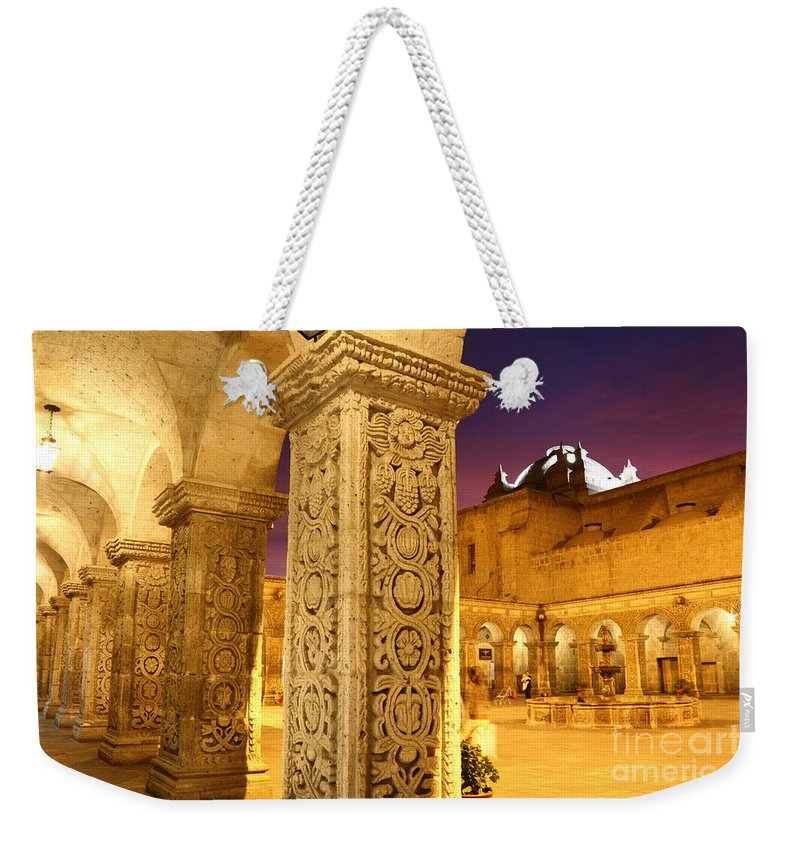 Peru Weekender Tote Bag featuring the photograph Cloisters At Sunset Arequipa by James Brunker