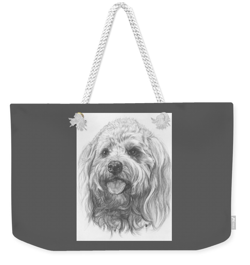 Designer Dog Weekender Tote Bag featuring the drawing Cock-a-poo by Barbara Keith