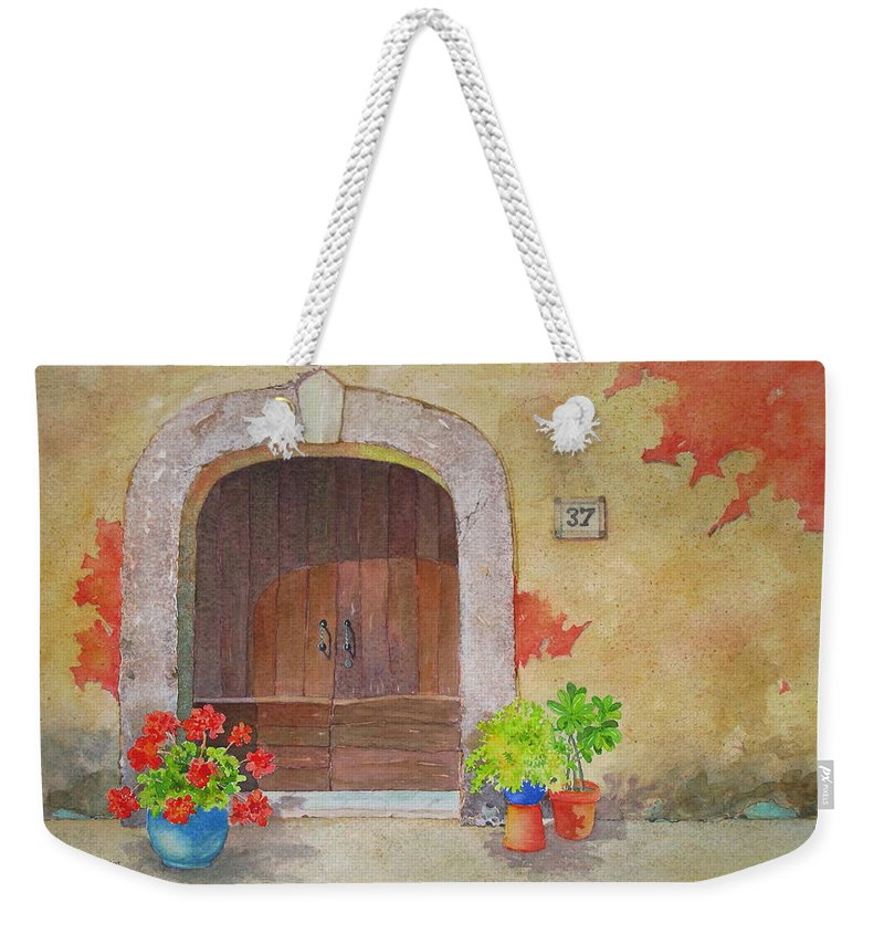 Tuscany Weekender Tote Bag featuring the painting Color Me Tuscany by Mary Ellen Mueller Legault