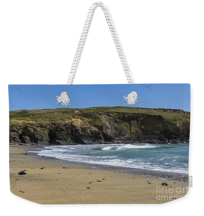 Gunwalloe Cornwall Weekender Tote Bag featuring the photograph Cornish Seascape Gunwalloe by Brian Roscorla