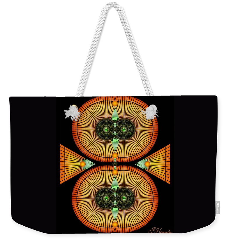 Cosmic Mitosis Weekender Tote Bag featuring the mixed media Cosmic Mitosis by Ellen Henneke