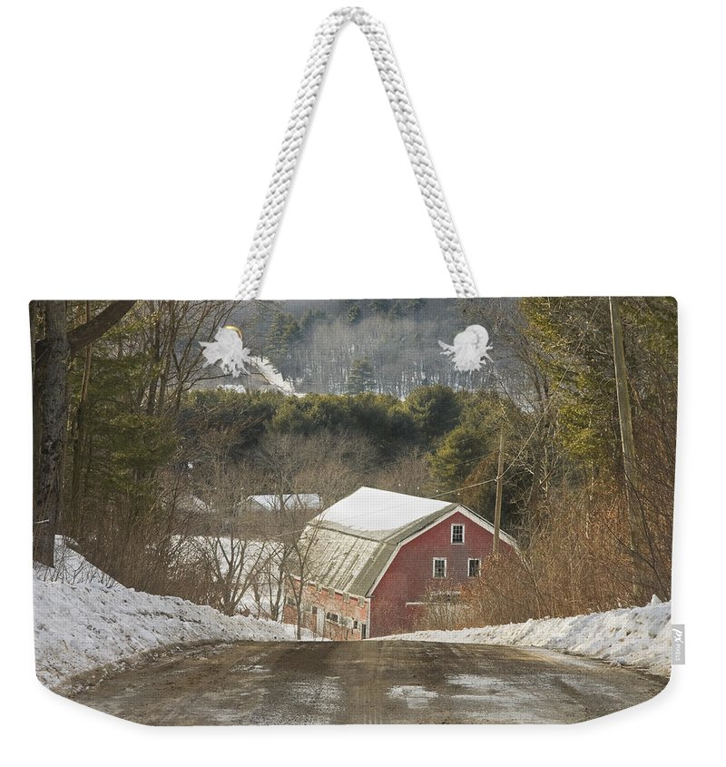 Maine Weekender Tote Bag featuring the photograph Country Road And Barn In Winter Maine by Keith Webber Jr