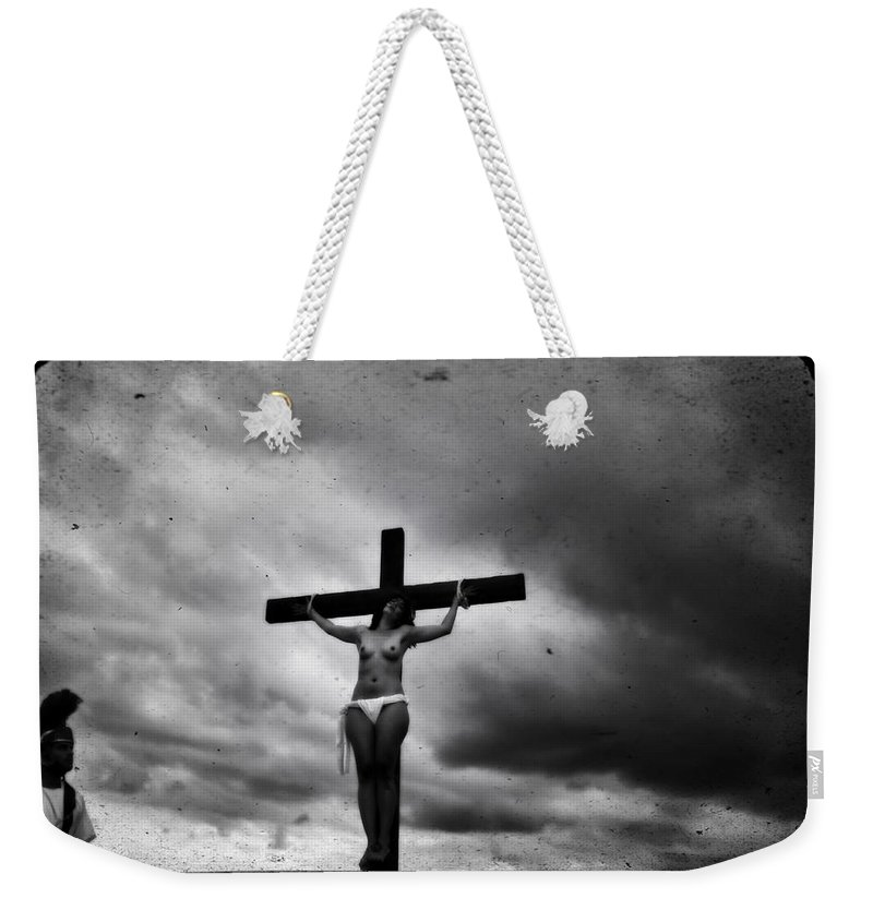 Crucifix Weekender Tote Bag featuring the photograph Crucifix And Landscape by Ramon Martinez
