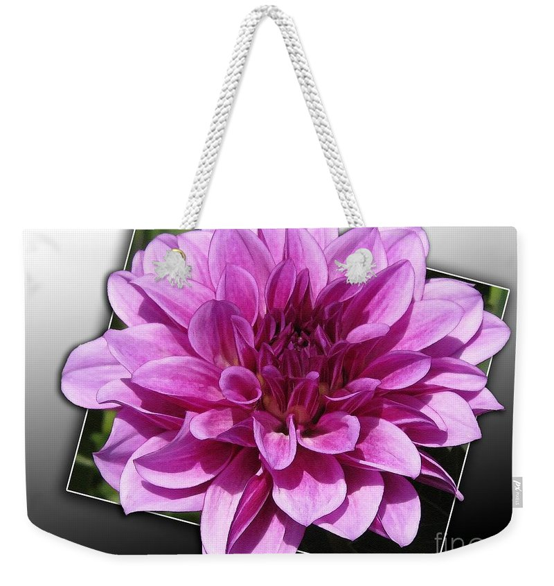 Dahlia Weekender Tote Bag featuring the painting Dahlia Named Blue Bell by J McCombie