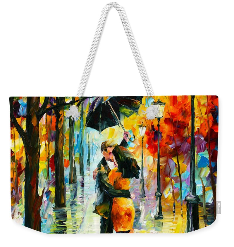 Dance Weekender Tote Bag featuring the painting Dance Under The Rain by Leonid Afremov