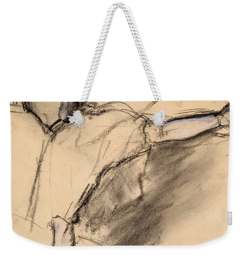 Degas Weekender Tote Bag featuring the drawing Dancer At The Bar 2 by Edgar Degas