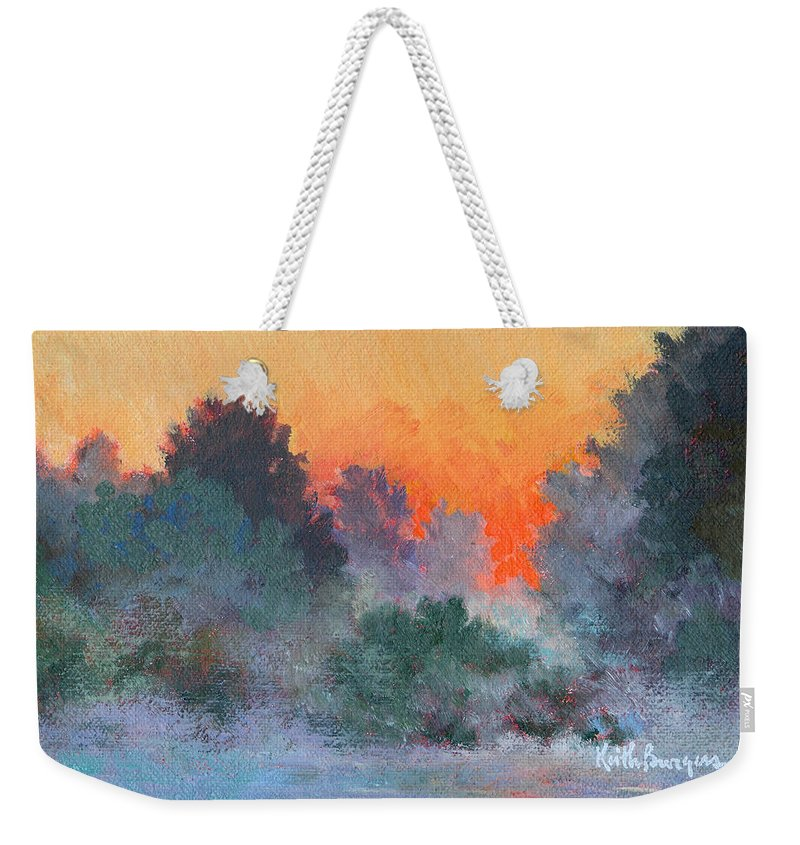 Impressionism Weekender Tote Bag featuring the painting Dawn Mist by Keith Burgess