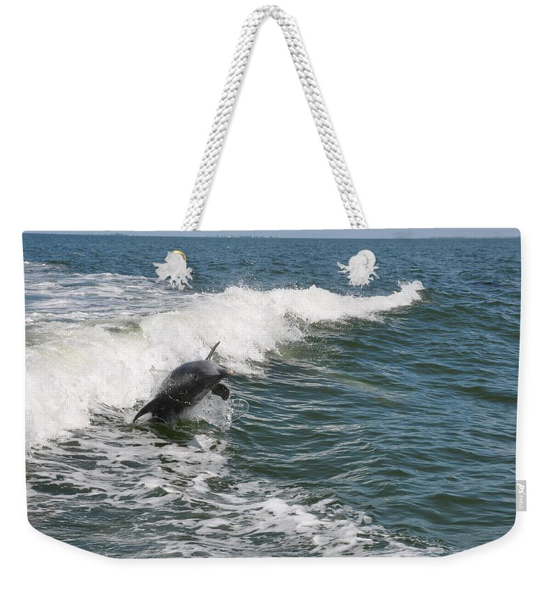 Animal Weekender Tote Bag featuring the photograph Dolphin Leap by Deborah Good
