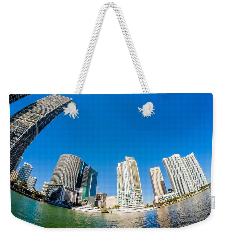 Architecture Weekender Tote Bag featuring the photograph Downtown Miami Fisheye by Raul Rodriguez