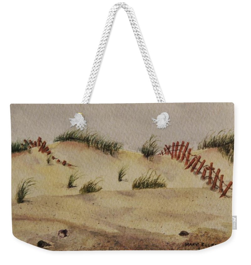Sand Weekender Tote Bag featuring the painting Dunes by Mary Ellen Mueller Legault