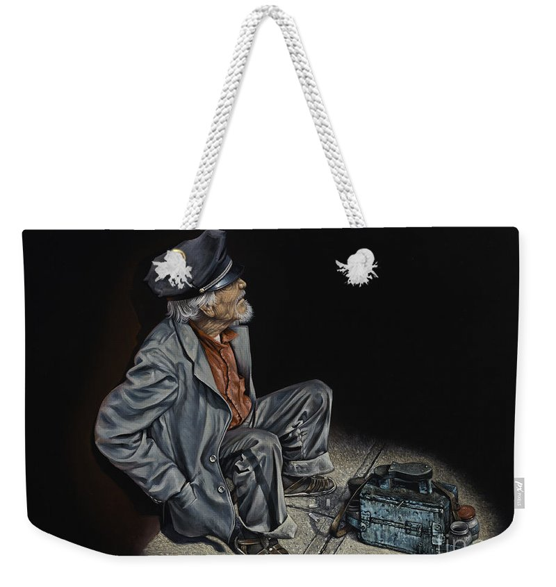 Shoeshiner Weekender Tote Bag featuring the painting Empty Pockets by Ricardo Chavez-Mendez