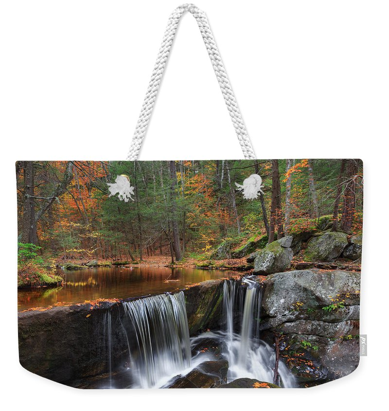 Autumn Waterfall Weekender Tote Bag featuring the photograph Enders Falls by Bill Wakeley
