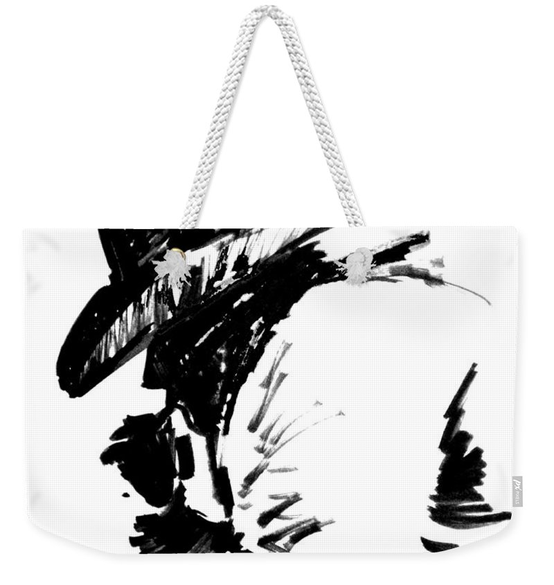 Exhausted Cowboy Weekender Tote Bag featuring the drawing Exhausted Cowboy by Seth Weaver
