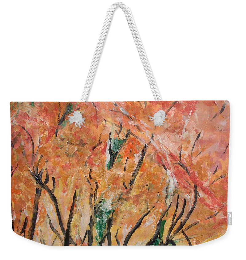 Fall Weekender Tote Bag featuring the photograph Fall Colors At Cape May by Eric Schiabor