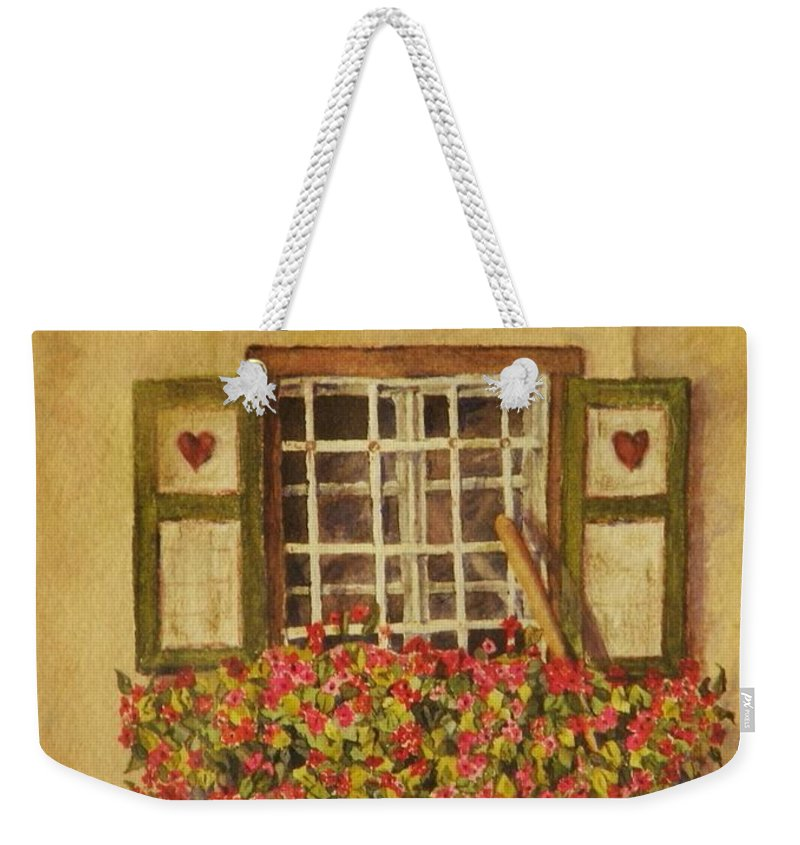 Rural Weekender Tote Bag featuring the painting Farm Window by Mary Ellen Mueller Legault