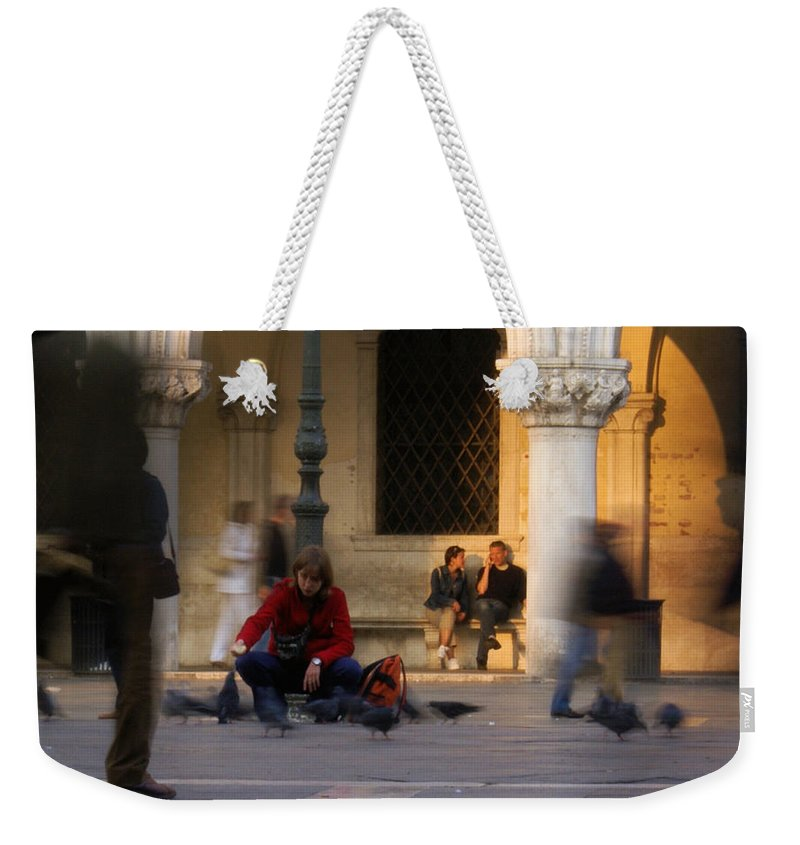 Venice Weekender Tote Bag featuring the photograph Feed The Birds by Ron Harpham