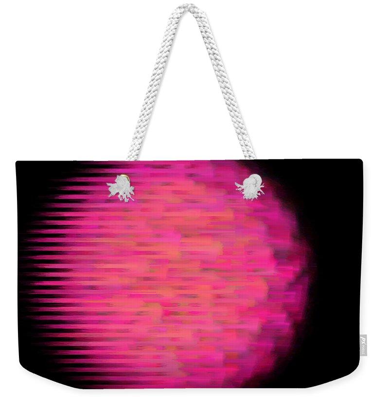 Fireball Weekender Tote Bag featuring the mixed media Fireball by Lali Kacharava