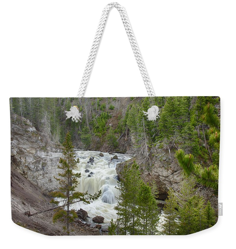America Weekender Tote Bag featuring the photograph Firehole Falls by Jack R Perry