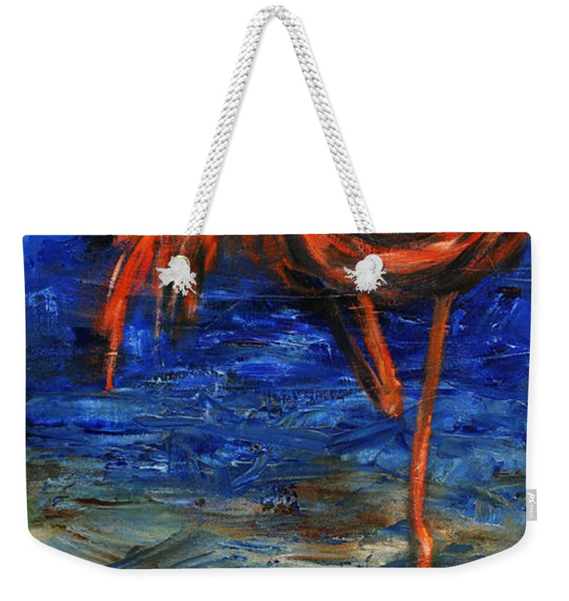 Flamingos Weekender Tote Bag featuring the painting Flamingo by Xueling Zou