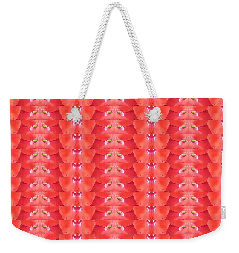 Heart Weekender Tote Bag featuring the photograph Flower Petal Petal Art From Cherryhill Nj America Micro Patterns Red Color Tones Light Shades by Navin Joshi