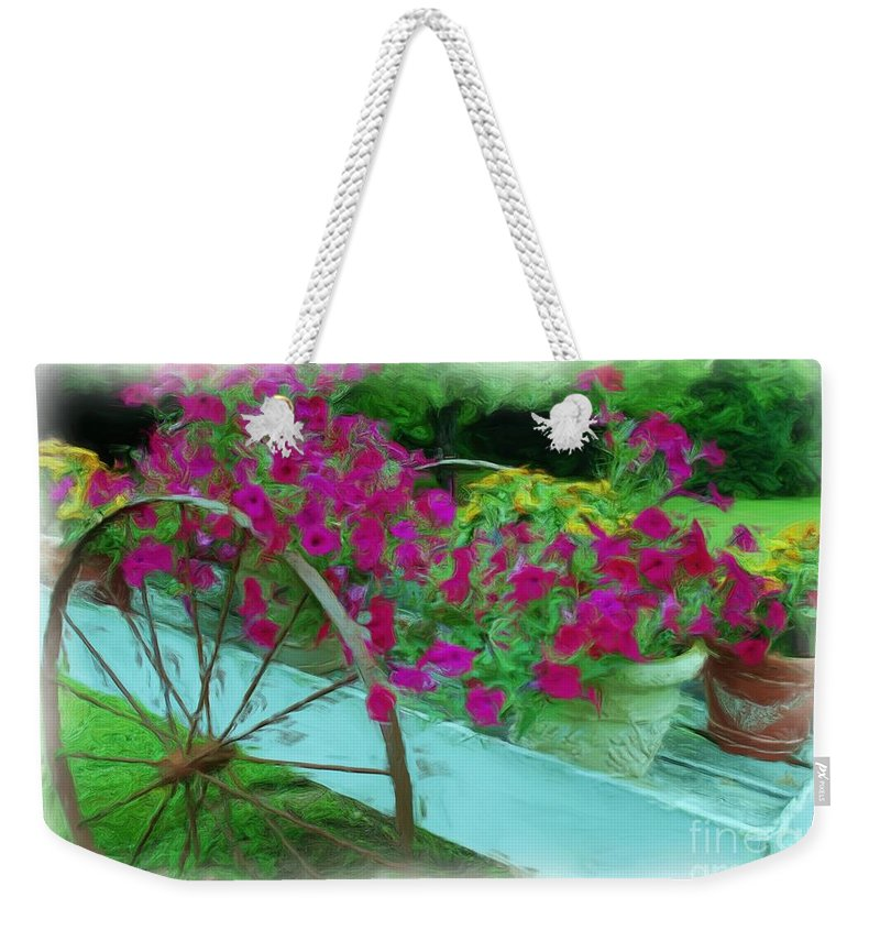 Digital Painting Weekender Tote Bag featuring the photograph Flower Pot 2 by Allen Beatty