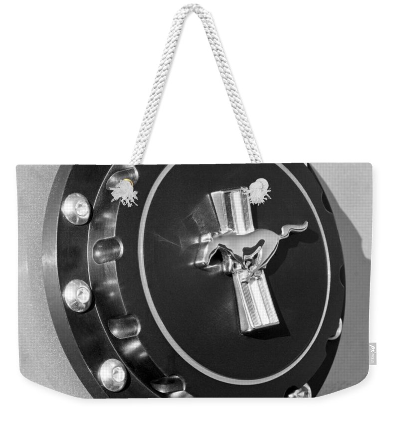 Ford Mustang Emblem Weekender Tote Bag featuring the photograph Ford Mustang Emblem by Jill Reger