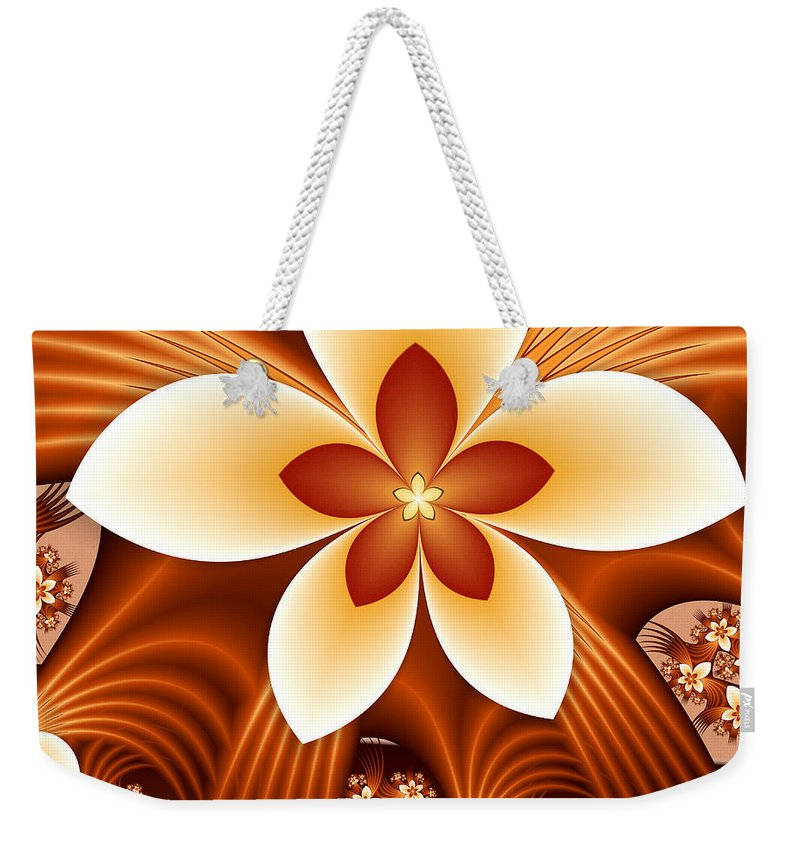Fractal Weekender Tote Bag featuring the digital art Fractal Fantasy Flowers by Gabiw Art