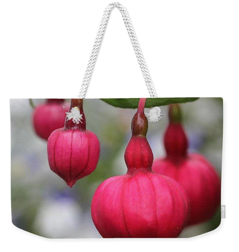 Mccombie Weekender Tote Bag featuring the painting Fuchsia Named Dark Eyes by J McCombie