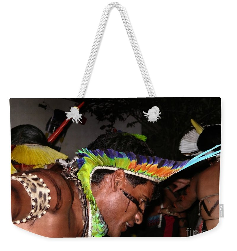 Abadiania Weekender Tote Bag featuring the digital art Fulnio Indians Of Brazil by Carol Ailles