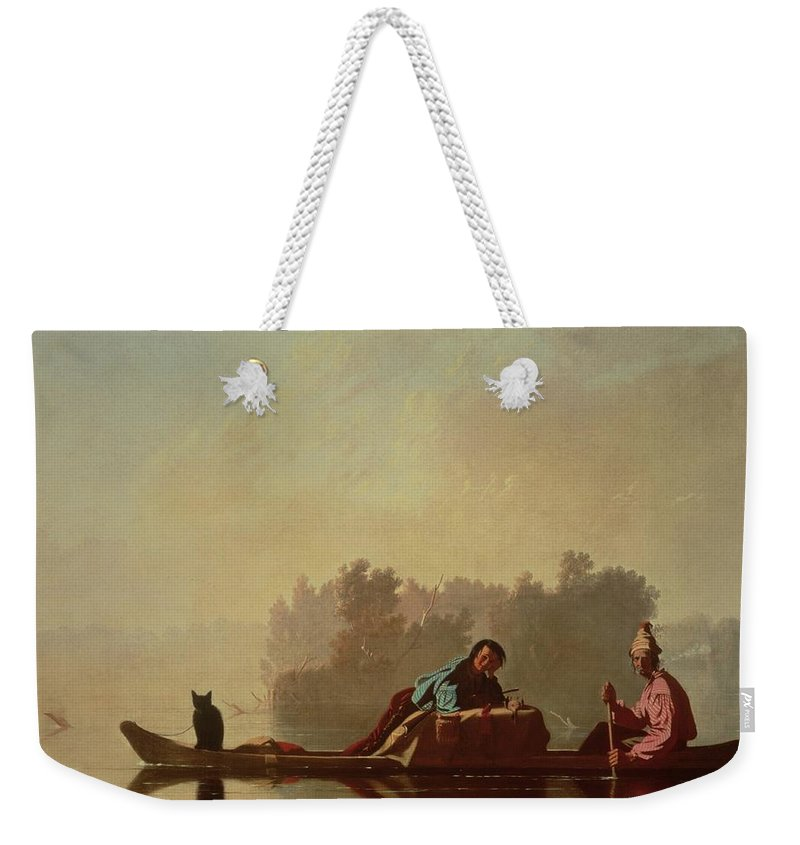 Canoe; Cat; Paddle; River; Barge; Boat; Trader; Merchant; Seller; Vendor; Trade; Transport; American Landscape; Frontier; French Settlers Weekender Tote Bag featuring the painting Fur Traders Descending The Missouri by George Caleb Bingham