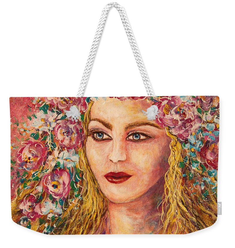 Goddess Weekender Tote Bag featuring the painting Good Fortune Goddess by Natalie Holland