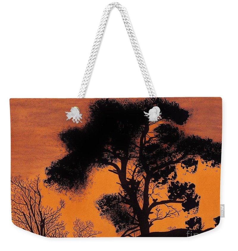 Sunset Weekender Tote Bag featuring the drawing Gray Sky Sunset by D Hackett