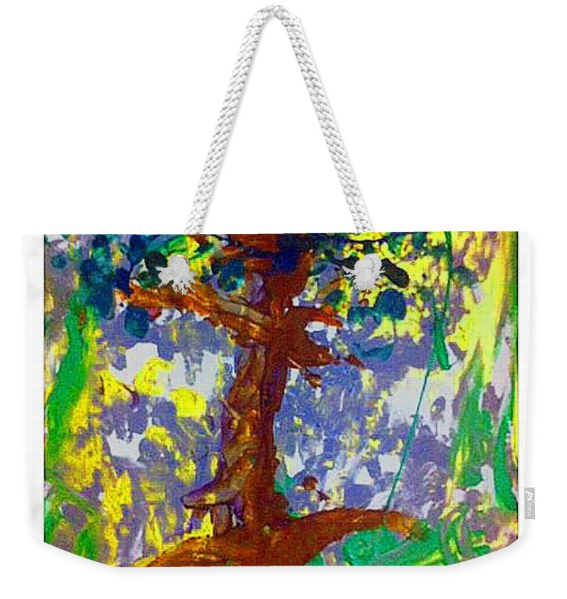 Trees Weekender Tote Bag featuring the mixed media Growth by Luz Elena Aponte
