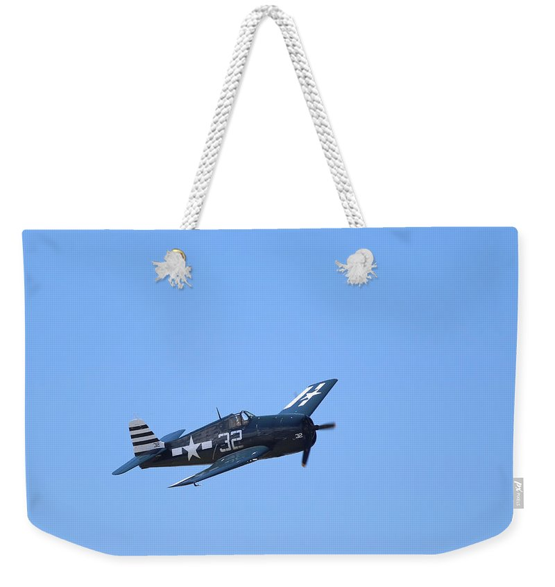 Grumman Weekender Tote Bag featuring the photograph Grumman Hellcat by Paul Fell
