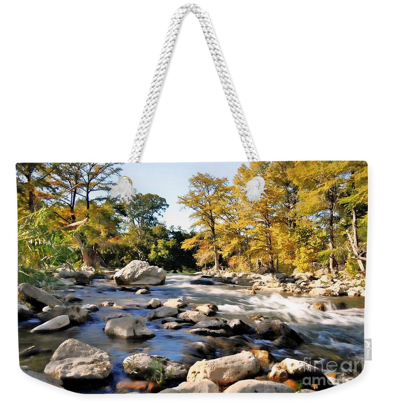 River Weekender Tote Bag featuring the photograph Guadalupe River by Savannah Gibbs