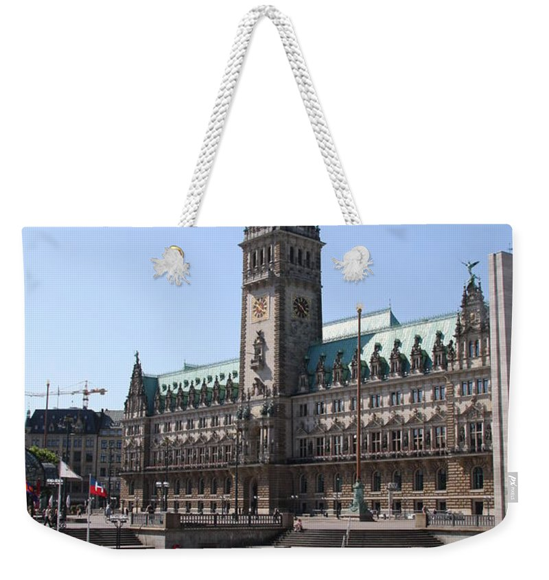 Hamburg Weekender Tote Bag featuring the photograph Hamburg - City Hall With Fleet - Germany by Christiane Schulze Art And Photography