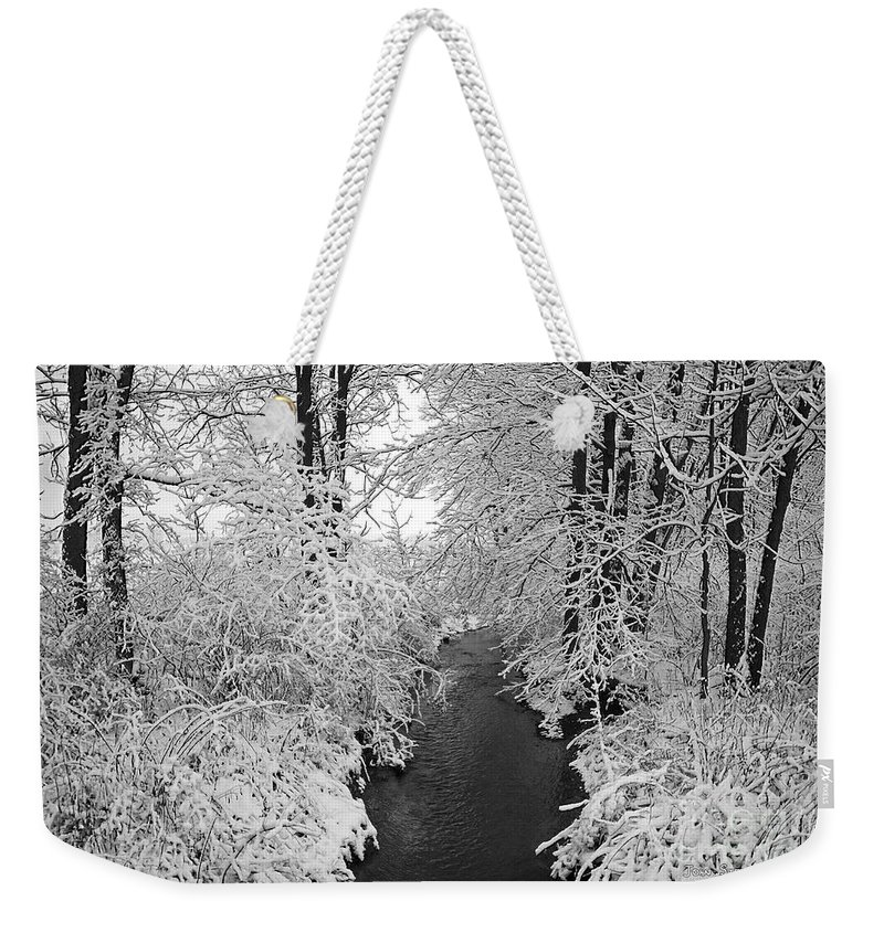 Snow Weekender Tote Bag featuring the photograph Heavy With Snow by John Stephens