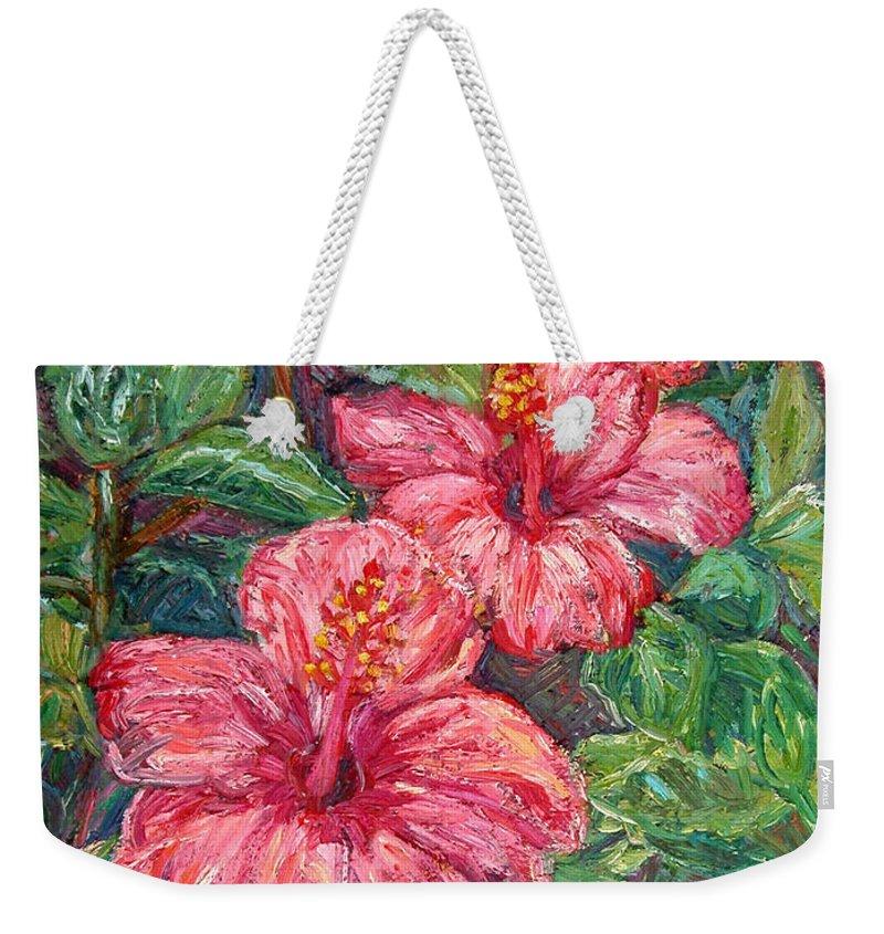 Hibiscus Weekender Tote Bag featuring the painting Hibiscus by Kendall Kessler