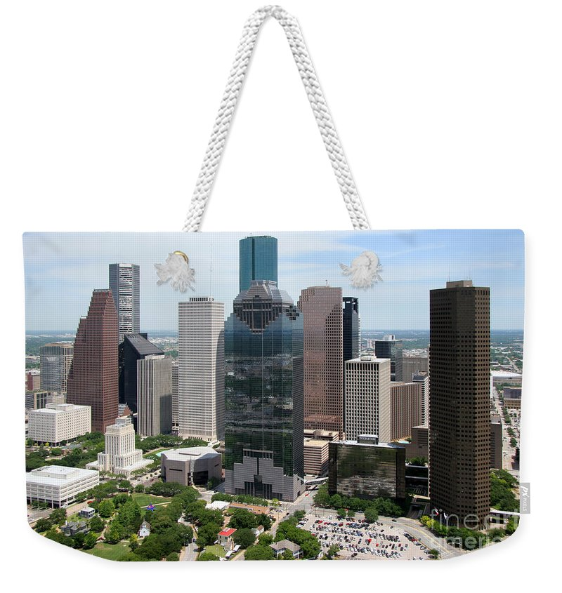 Houston Weekender Tote Bag featuring the photograph Houston Skyline by Bill Cobb