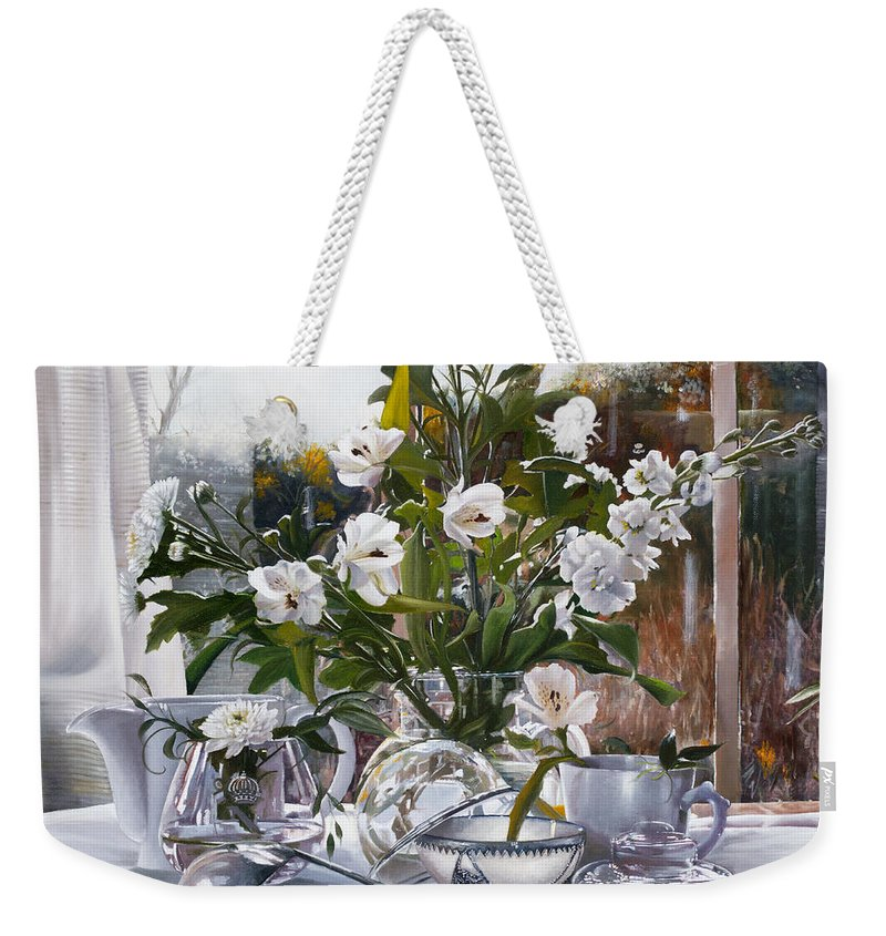 Still Life Weekender Tote Bag featuring the painting Il Mestolo by Danka Weitzen