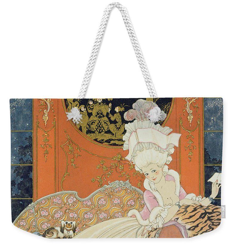 Female Weekender Tote Bag featuring the painting Illustration For 'fetes Galantes' by Georges Barbier