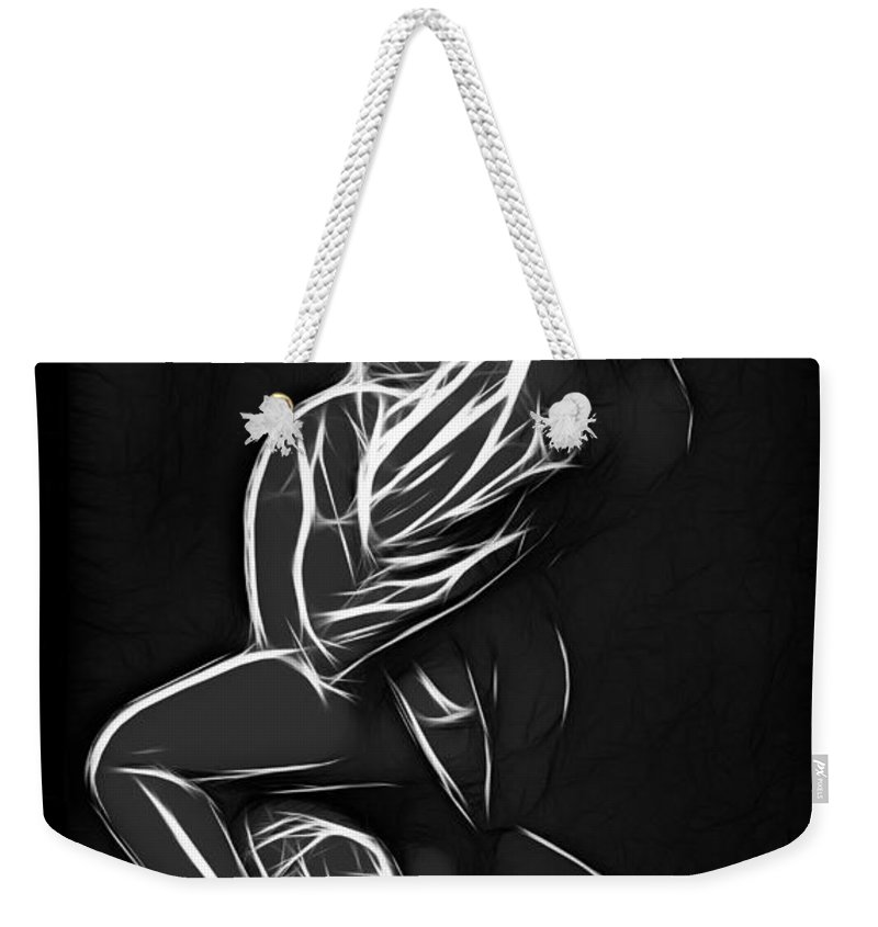 Love Lover Lovers Couple Loving Female Male Woman Man Girl Boy Sensual Black White Expressionism Weekender Tote Bag featuring the painting In Love by Steve K