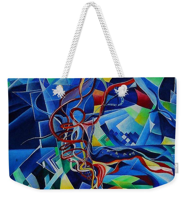 Johann Sebastian Bach Toccata And Fugue D Minor Acrylics Abstract Music Pens Gems Weekender Tote Bag featuring the painting Inside The Cathedral by Wolfgang Schweizer