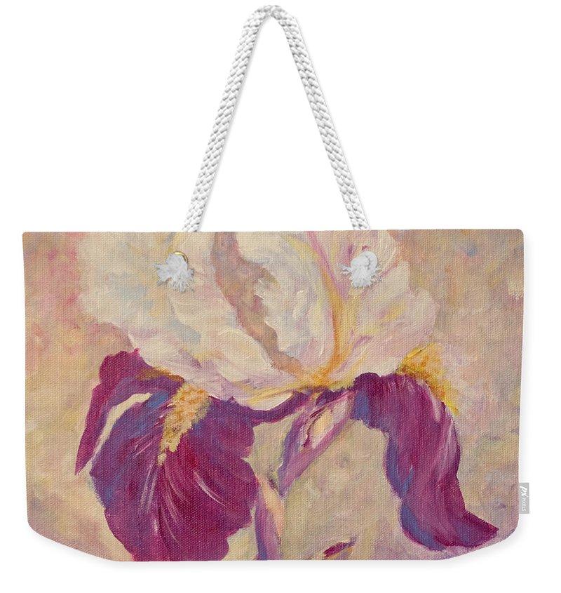 Iris Weekender Tote Bag featuring the painting Iris by Jo Smoley