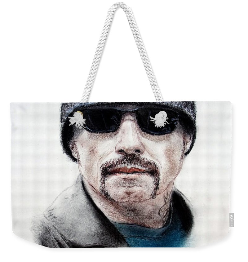 John Travolta Weekender Tote Bag featuring the mixed media John Travolta In The Taking Of Pelham 123 by Jim Fitzpatrick