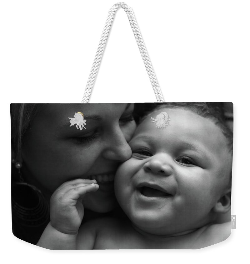 Black And White Weekender Tote Bag featuring the photograph Joy by Nadine Rippelmeyer