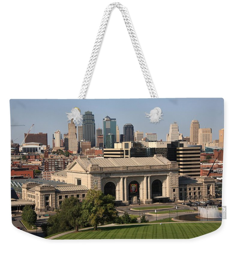 America Weekender Tote Bag featuring the photograph Kansas City Skyline by Frank Romeo