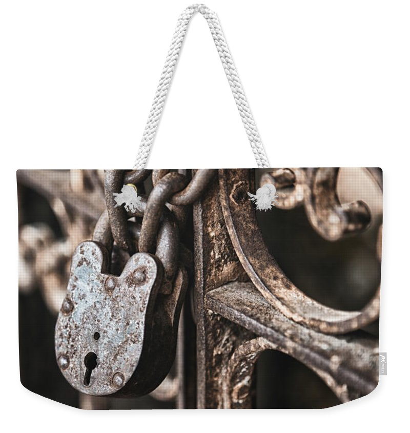 Lock Weekender Tote Bag featuring the photograph Keyless by Caitlyn Grasso