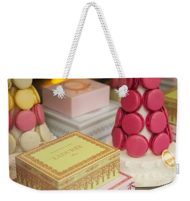 Bakery Weekender Tote Bag featuring the photograph Laduree Sweets by Brian Jannsen